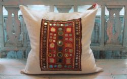 Large Square Vintage Linen Cushion with Mirrored Antique Embroidery